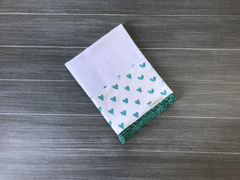 Teal Watercolor Hearts Crochet Kitchen Bar Mop Towel