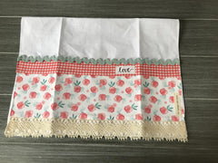 Petite Roses on White Linen Guest Towel
