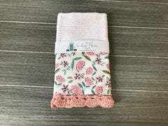 Floral Print in Pink Crochet Kitchen Bar Mop Towel