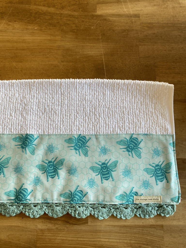 Teal Bees Crochet Kitchen Towel - The Vintage Home Studio