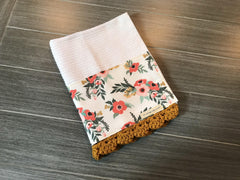 Fall Poppy and Olive Blossoms Crochet Kitchen Bar Mop Towel