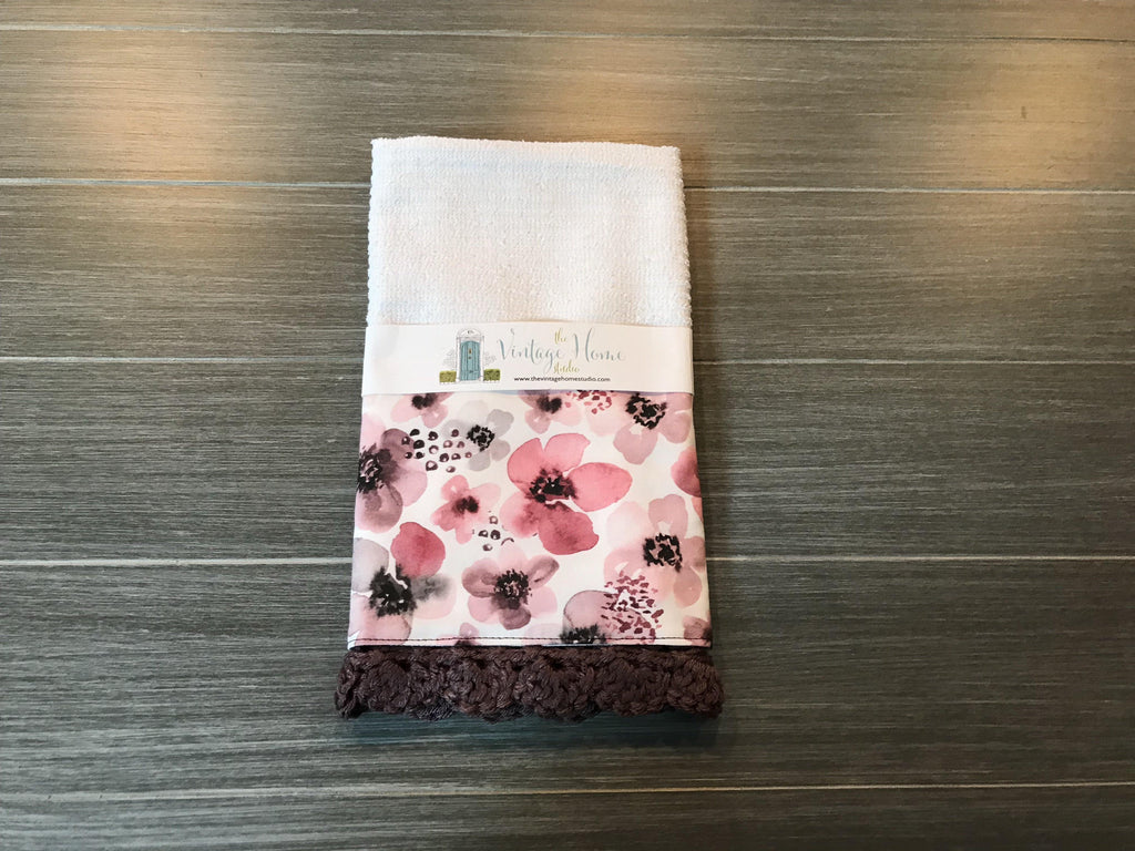 Painted Berry Floral Crochet Kitchen Bar Mop Towel - The Vintage Home Studio
