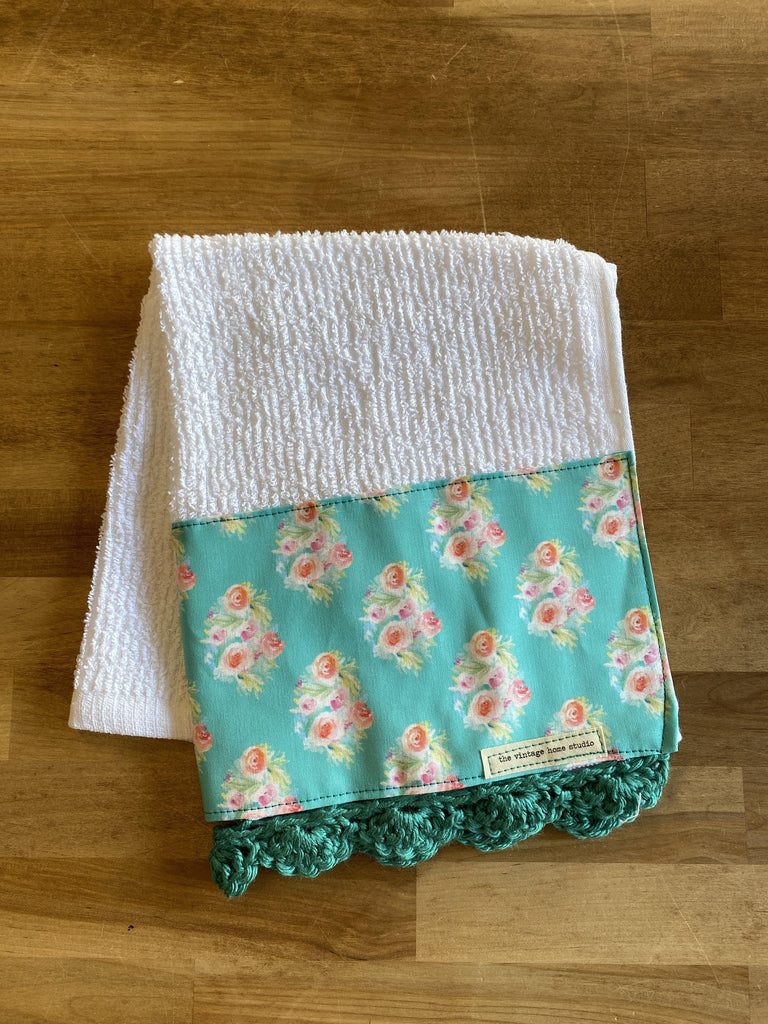 Teal Bouquets Crochet Kitchen Towel - The Vintage Home Studio