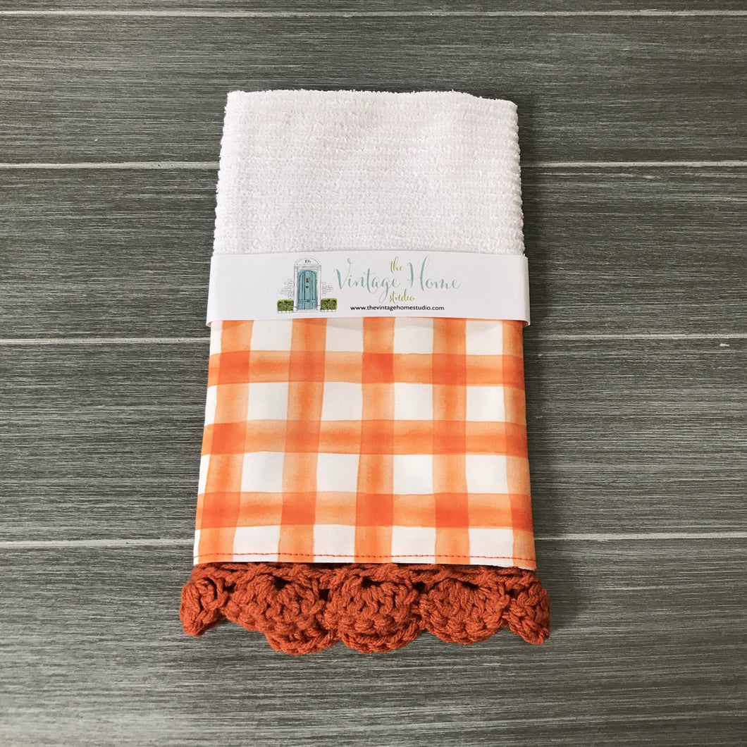 Orange Watercolor Farmhouse Buffalo Check Crochet Kitchen Bar Mop Towel