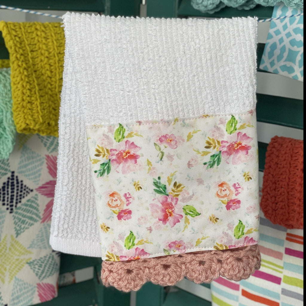 Pink Peony Meadows Crochet Kitchen Towel - The Vintage Home Studio