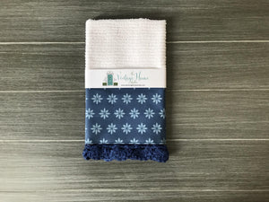 Tiny Daisies in Classic Blue Crochet Kitchen Bar Mop Towel - The Vintage Home Studio