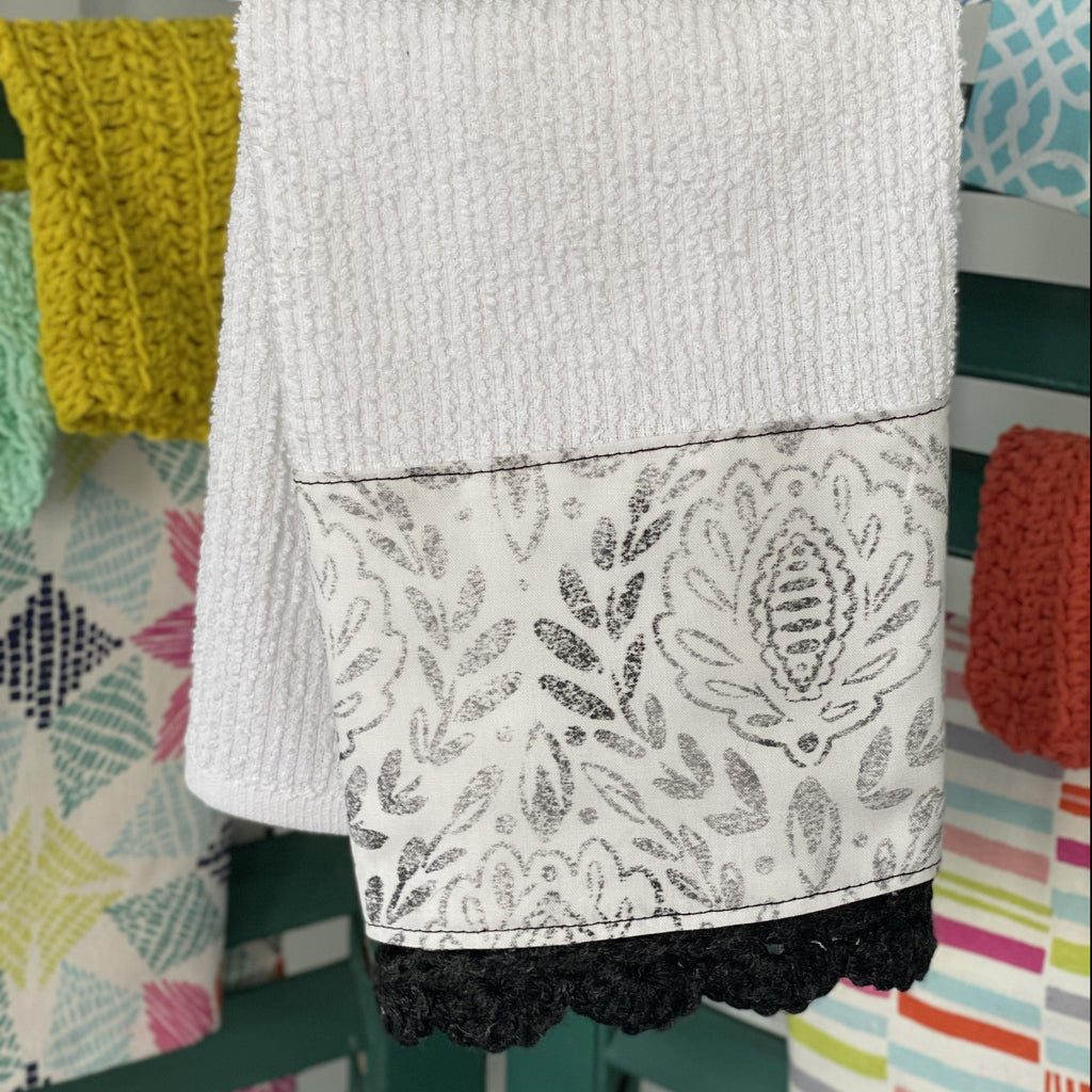 Distressed Grey Damask Crochet Kitchen Towel - The Vintage Home Studio