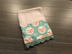 Sweet Snowmen Crochet Kitchen Bar Mop Towel