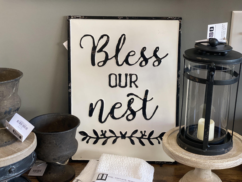 Bless Our Nest Tin Sign - The Vintage Home Studio