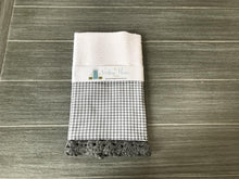 Load image into Gallery viewer, Gray Gingham Crochet Kitchen Bar Mop Towel