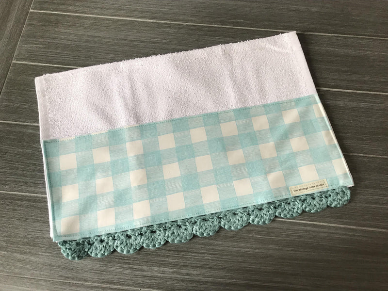 Farm Fresh Blue Buffalo Check Crochet Kitchen Bar Mop Towel