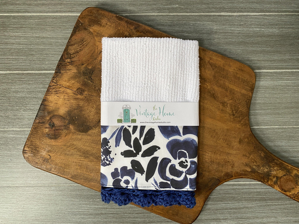 Navy Floral Crochet Kitchen Bar Mop Towel - The Vintage Home Studio