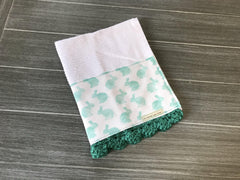Teal Bunnies Crochet Kitchen Bar Mop Towel