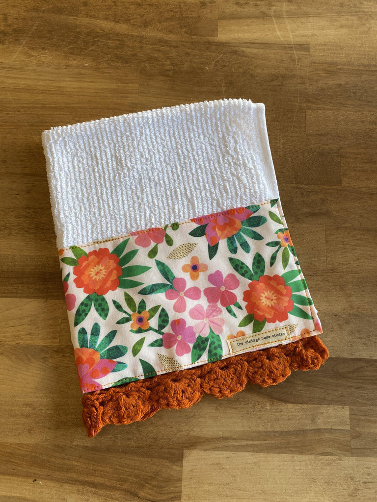 Paper Petals Crochet Kitchen Towel - The Vintage Home Studio