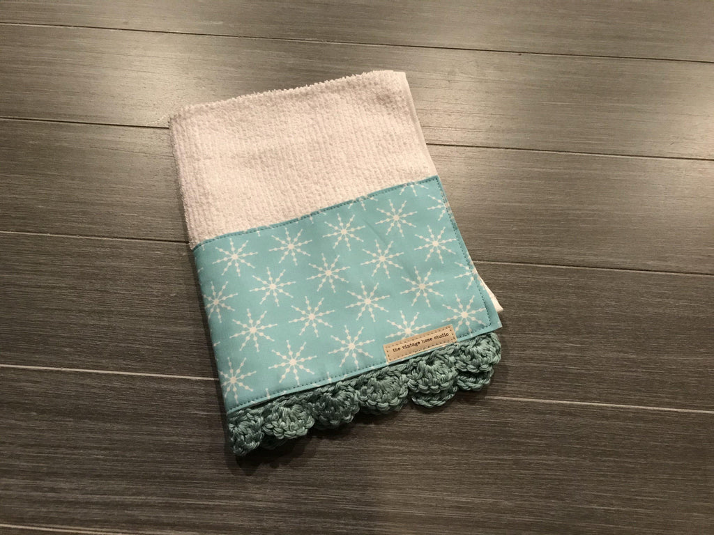 Icy Snowflakes Crochet Kitchen Bar Mop Towel - The Vintage Home Studio