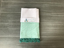 Load image into Gallery viewer, RETIRING Watercolor Lines in Teal Crochet Kitchen Bar Mop Towel - The Vintage Home Studio