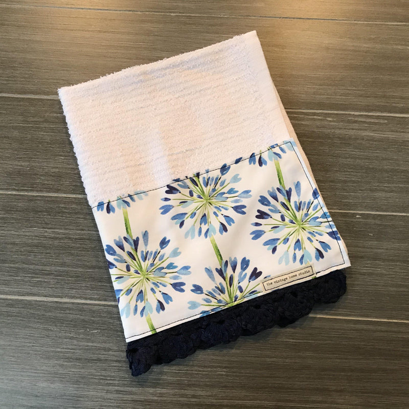 Classic Blue Dandelion Crochet Kitchen Bar Mop Towel