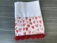 Watercolor Hearts in Red and Pink Crochet Kitchen Bar Mop Towel