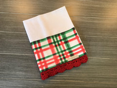 Watercolor Holiday Plaid Crochet Kitchen Bar Mop Towel