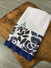 Load image into Gallery viewer, Navy Floral Crochet Kitchen Bar Mop Towel