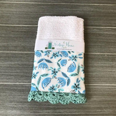 Floral Print in Blue Crochet Kitchen Bar Mop Towel