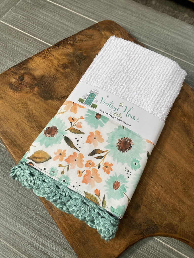 Shabby Blue Sunflowers Crochet Kitchen Bar Mop Towel - The Vintage Home Studio