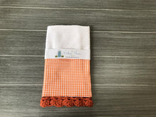Load image into Gallery viewer, Orange Gingham Crochet Kitchen Bar Mop Towel