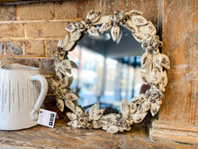 Load image into Gallery viewer, Antique White and Gold Rosette Motif Mirror