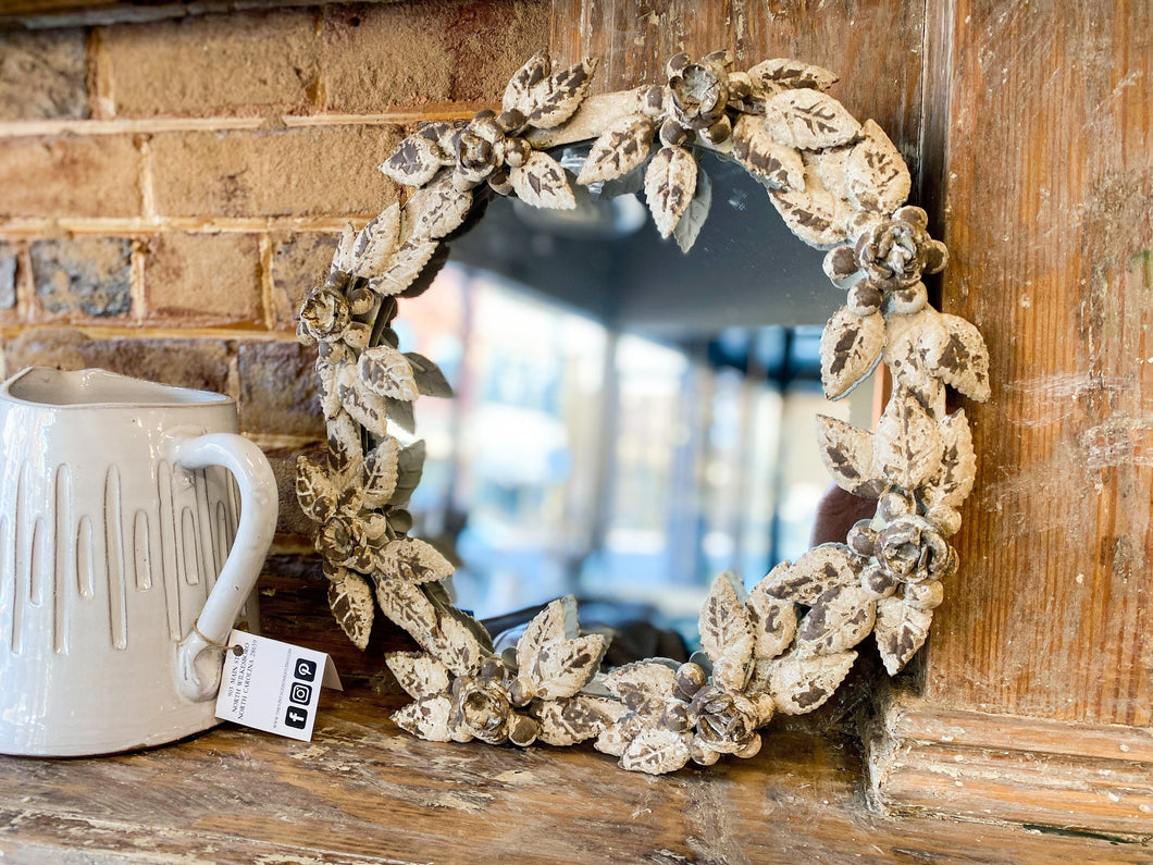 Antique White and Gold Rosette Motif Mirror
