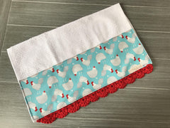 Farm Fresh Blue Chickens Crochet Kitchen Bar Mop Towel