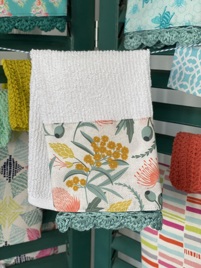 Fresh Florals Crochet Kitchen Towel - The Vintage Home Studio