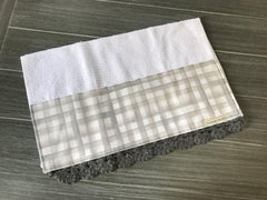 Farmhouse Grey Buffalo Check Crochet Kitchen Bar Mop Towel