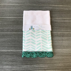 Teal Herringbone Crochet Kitchen Bar Mop Towel