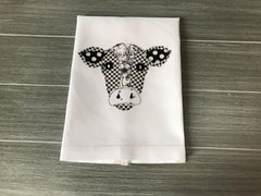 Classic Farmhouse Cow on White Cotton Hemstitch Towel