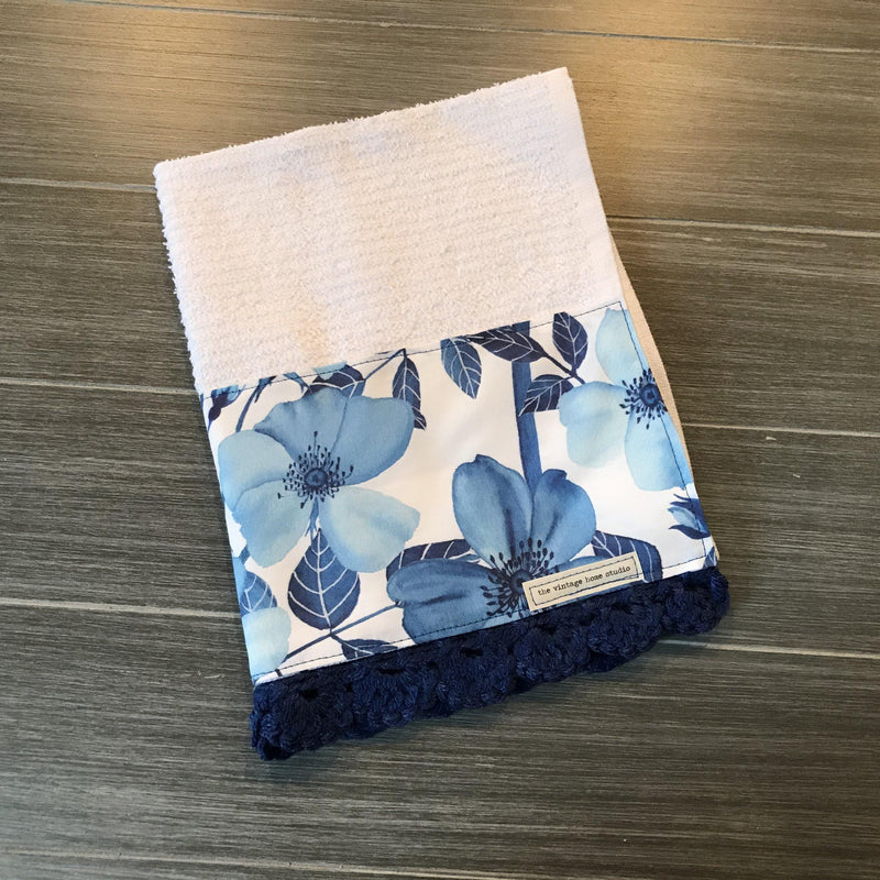 Classic Blue Watercolor Garden Crochet Kitchen Bar Mop Towel