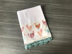 Farm Fresh Colorful Chickens Crochet Kitchen Bar Mop Towel