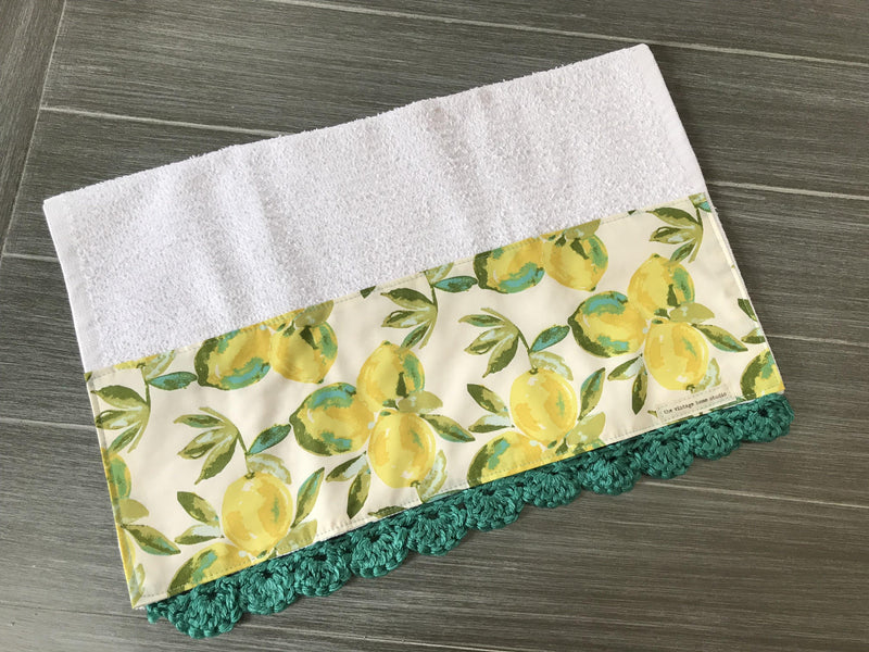 Yuma Lemons in Teal Crochet Kitchen Bar Mop Towel