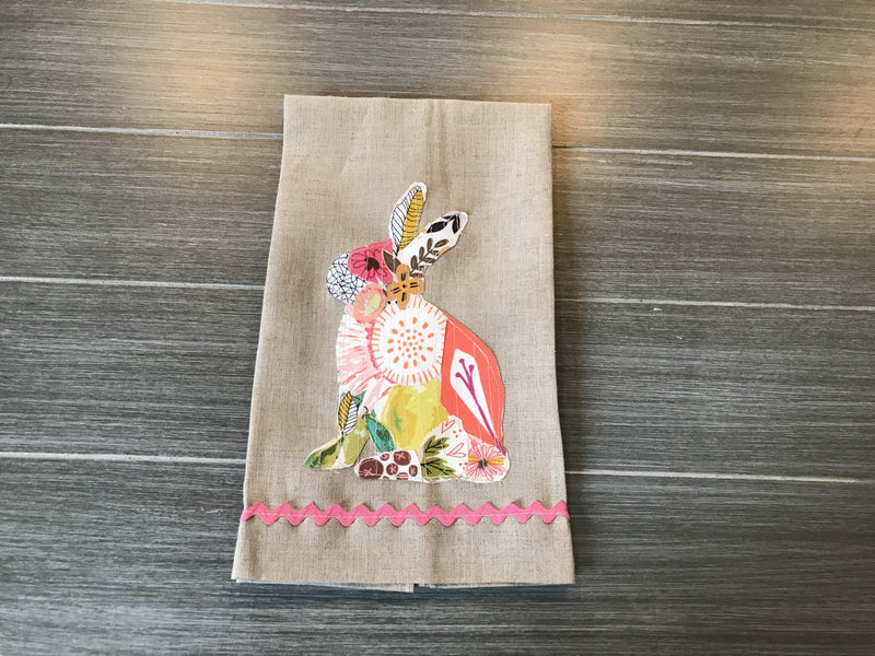 Collage Bunny on Oatmeal Linen Guest Towel