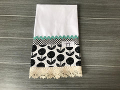 Etem Soot on White Linen Guest Towel
