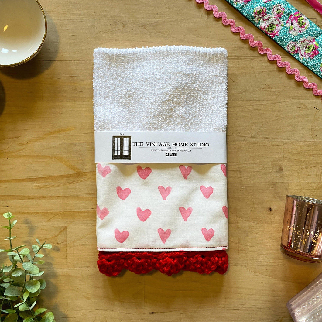 Red Watercolor Hearts Crochet Kitchen Bar Mop Towel