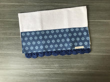 Load image into Gallery viewer, Tiny Daisies in Classic Blue Crochet Kitchen Bar Mop Towel