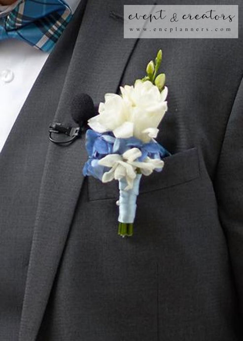 Blue White Boutonniere