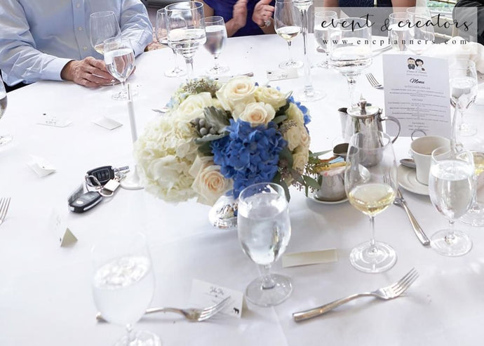Blue White Centerpiece