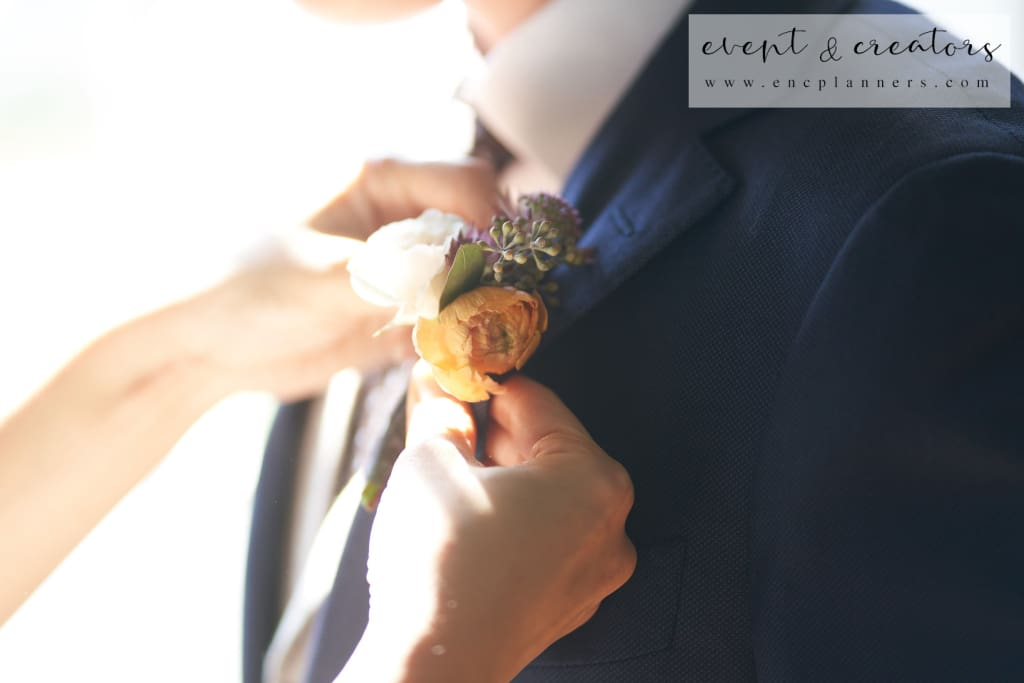 Orange Rose Boutonniere