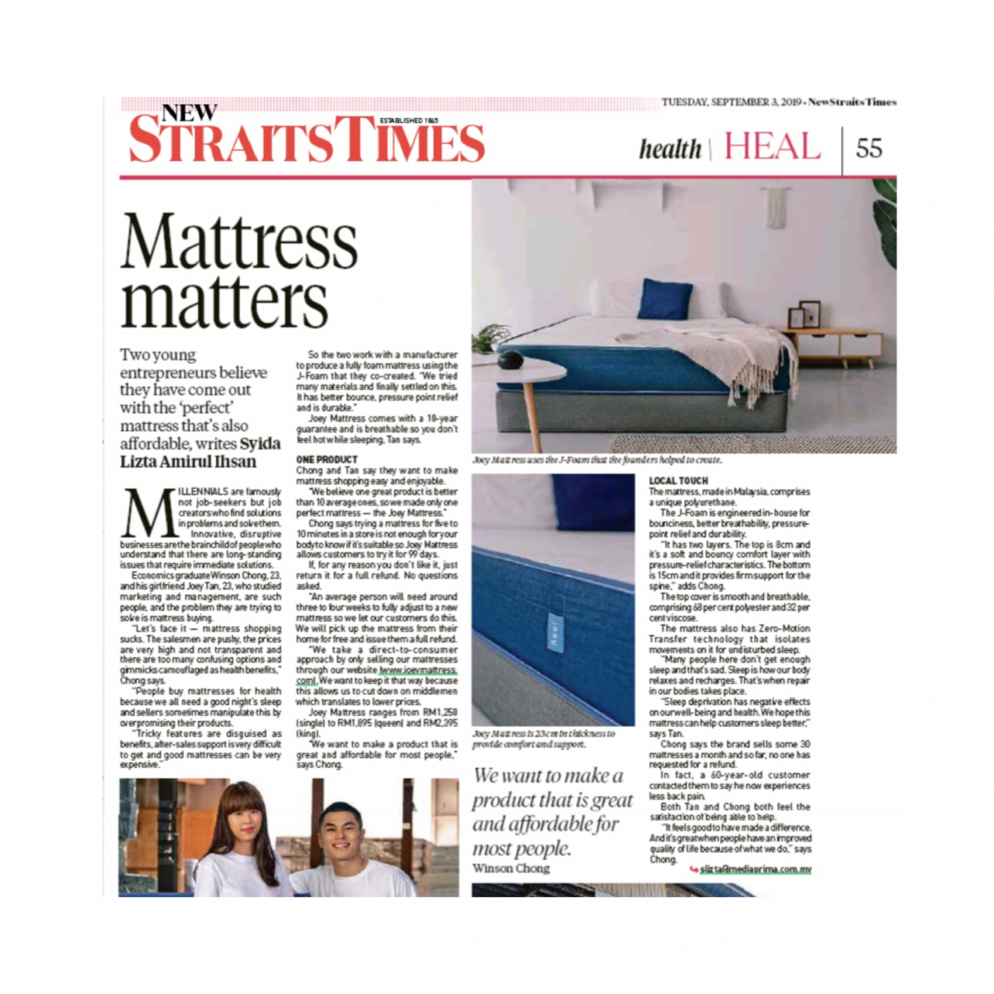 Joey Mattress in News Straits Times