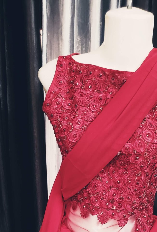 Red Indo-Western Ruffle Saree With Embroidered Blouse And Motifs | Designer Dresses & Accessories | My Lebaz