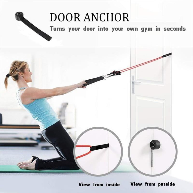 display of woman working out at home with 11 pcs Fitness Resistance Bands Set Best For Home & outdoor fitness. trusted gadget store highly reviewed products for real solutions image shows how easy it is to use the resistance band door anchor