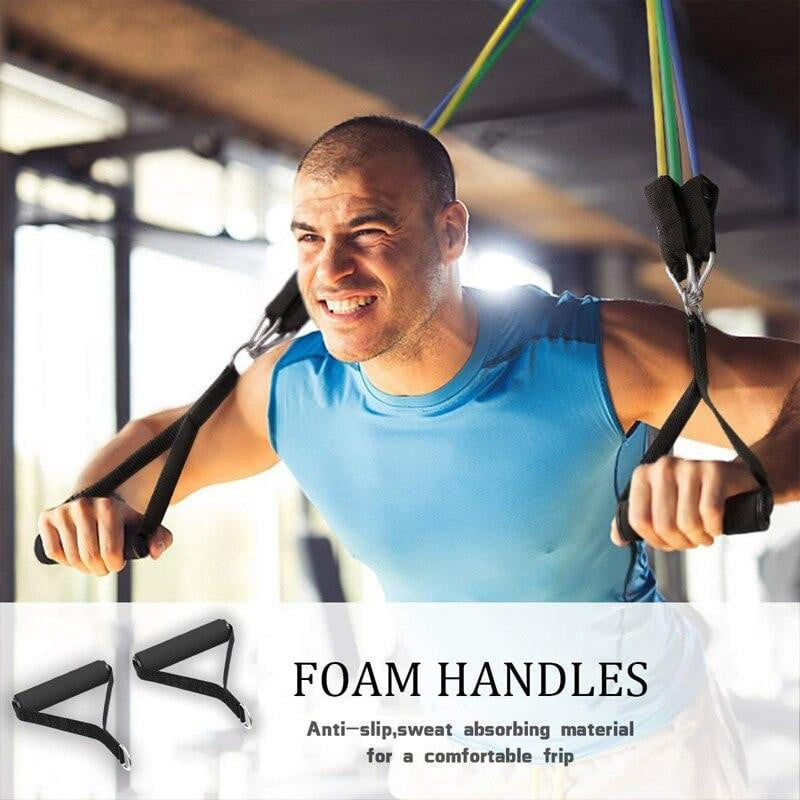 display of man working out with 11 pcs Fitness Resistance Bands Set Best For Home & outdoor fitness. trusted gadget store highly reviewed products for real solutions image shows how easy it is to use the resistance bands anywhere anytime image also shows the convenient foam handles
