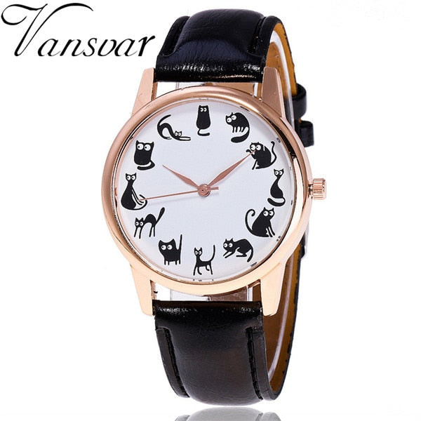 Cute Cat Lover Dial Quartz Vintage Women Watch | Designer Dresses & Accessories | My Lebaz