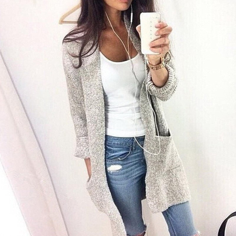 Grey Long Sleeve Loose Knitting Cardigan Sweater | Designer Dresses & Accessories | My Lebaz